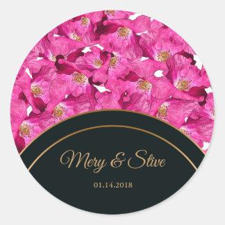 Sticker Rond Motif floral de rose de pavots. Monogramme