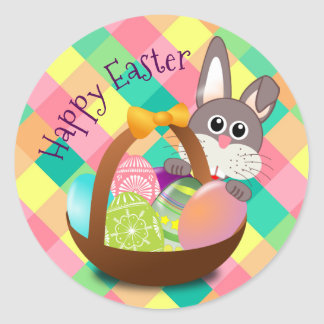 Sticker Rond Motif heureux de damier de ressort de Pâques