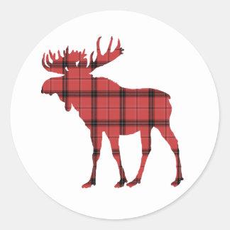Sticker Rond Motif rouge de tartan de plaid d'orignaux de