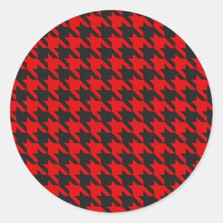 Sticker Rond Motif rouge et noir de pied-de-poule