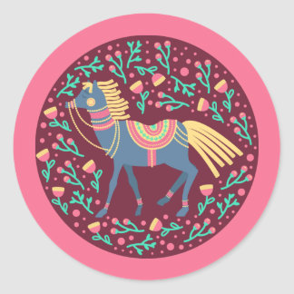 Sticker Rond Motif sans couture de vecteur floral de chevaux de