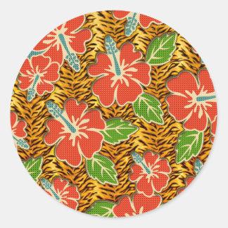 Sticker Rond Motif sauvage de tigre de fleurs tropicales
