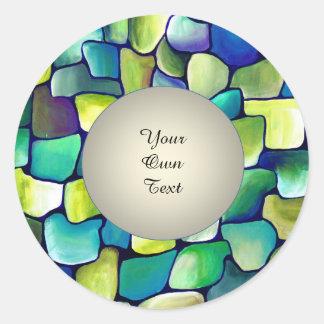 Sticker Rond Motif vert contemporain - texte de cercle de perle