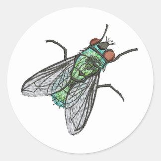 Sticker Rond mouche verte - imitation de broderie