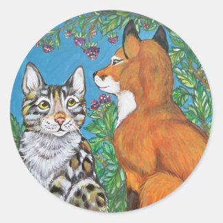 Sticker Rond Mûres d'autocollant de Fox rouge et de chat du
