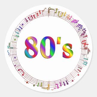 Sticker Rond musique 80s