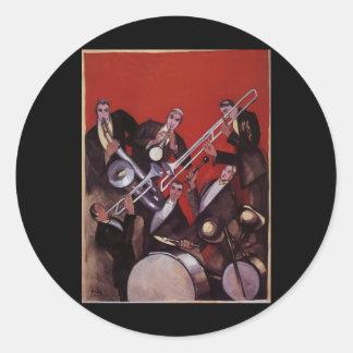 Sticker Rond Musique vintage, bloquer musical de jazz-band