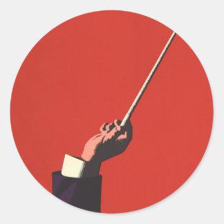 Sticker Rond Musique vintage, la main du conducteur tenant un