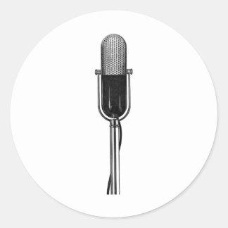Sticker Rond Musique vintage, vieux rétro microphone de