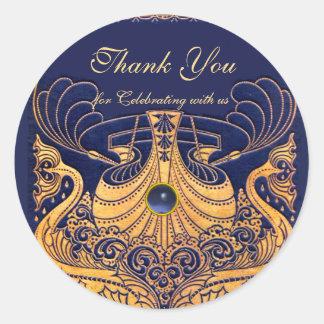 "Sticker Rond Navire antique, dauphins, or, bleu marine ""Merci """