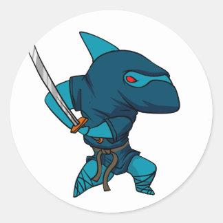 Sticker Rond Ninja de requin