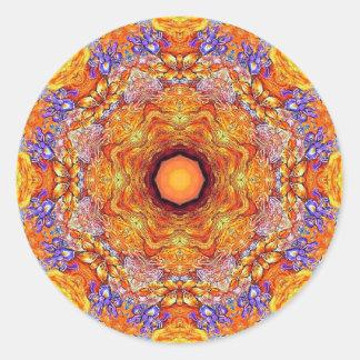Sticker Rond NO1 d'or de mandala d'iris