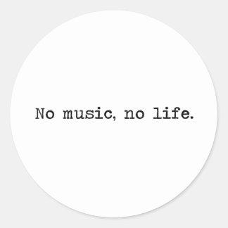 Sticker Rond No music, no life.