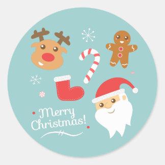 Sticker Rond Noël avec Père Noël, renne, bonhomme en pain