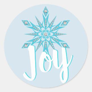 Sticker Rond Noël bleu-clair de vacances de JOIE de flocon de