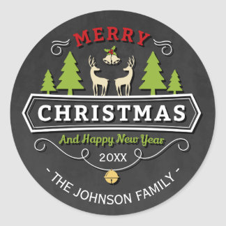 Sticker Rond Noël d'arbre de renne avec le tableau