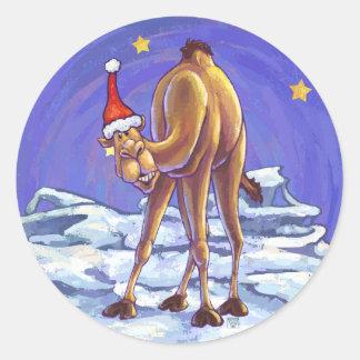 Sticker Rond Noël de chameau