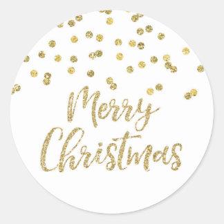 Sticker Rond Noël de confettis de scintillement d'or Joyeux