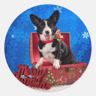 Sticker Rond Noël de corgi