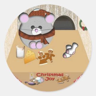 Sticker Rond Noël de maison de souris