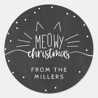 Sticker Rond Noël de Meowy - oreilles et favoris de chat