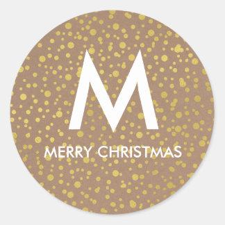 Sticker Rond Noël de Papier d'emballage de Faux des confettis |