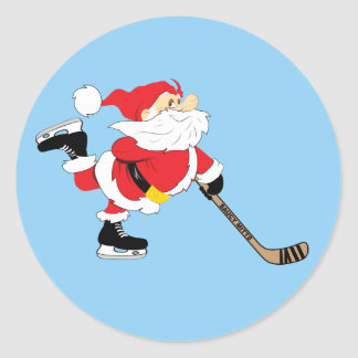 Sticker Rond Noël de patinage de Père Noël d'hockey