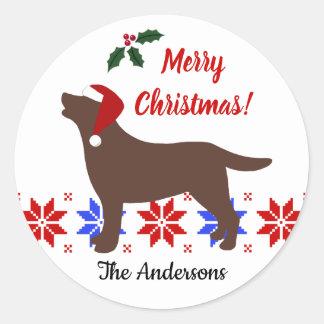 Sticker Rond Noël de Père Noël de silhouette de Labrador de