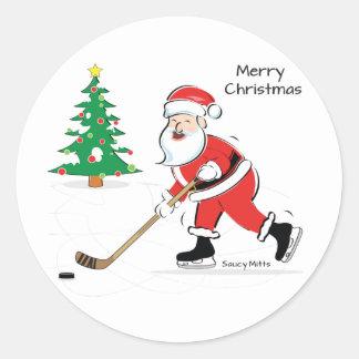 Sticker Rond Noël de Père Noël d'hockey