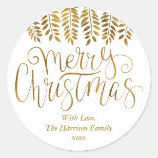 Sticker Rond Noël de typographie d'effet de feuille d'or Joyeux