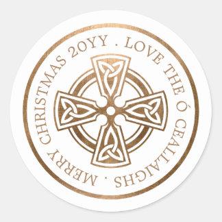 Sticker Rond Noël d'Irlandais de croix celtique d'or