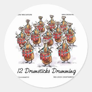 Sticker Rond Noël drôle 12 pilons battant du tambour des