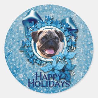 Sticker Rond Noël - flocon de neige bleu - carlin