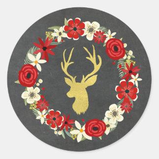 Sticker Rond Noël floral rouge de cerfs communs d'or de