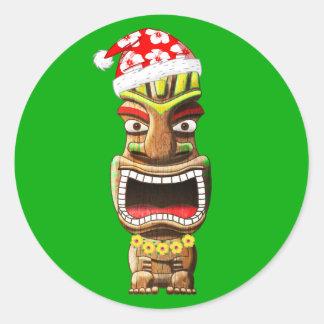 Sticker Rond Noël hawaïen Père Noël Tiki