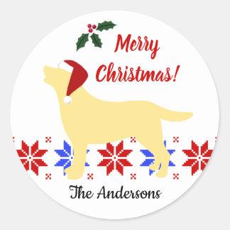 Sticker Rond Noël jaune de Père Noël de silhouette de Labrador