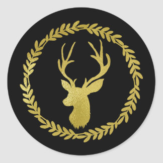 Sticker Rond Noël noir de cerfs communs d'or de guirlande