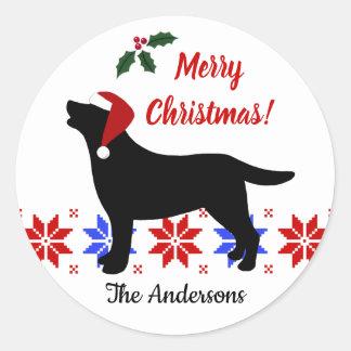 Sticker Rond Noël noir de Père Noël de silhouette de Labrador