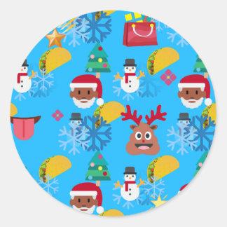 Sticker Rond Noël noir de taco de père Noël