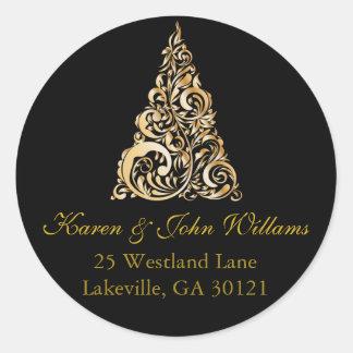 Sticker Rond Noël/or d'autocollant adresse de retour de