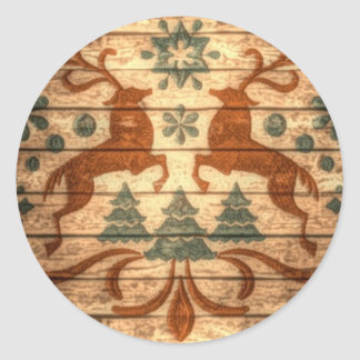 Sticker Rond Noël primitif de Nordic de flocons de neige de