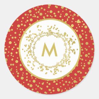 Sticker Rond Noël rouge de monogramme et blanc décoratif