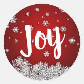 Sticker Rond Noël ROUGE de Noël de vacances de JOIE de flocons