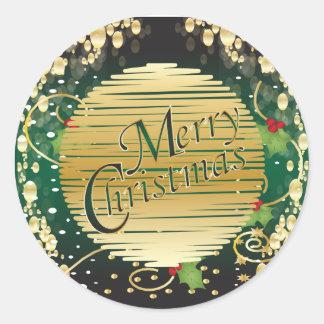 Sticker Rond Noël rouge et vert élégant