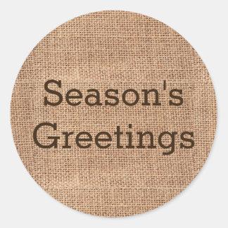 Sticker Rond Noël rustique simple de Joyeuses Fêtes de toile de