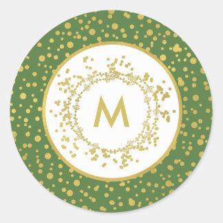 Sticker Rond Noël vert de monogramme et blanc décoratif