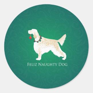 Sticker Rond Noël vilain de chien de Feliz de poseur anglais