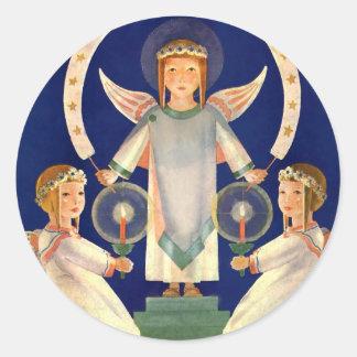 Sticker Rond Noël vintage, anges de Père Noël Lucia de