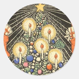 Sticker Rond Noël vintage, arbre avec des bougies et une étoile