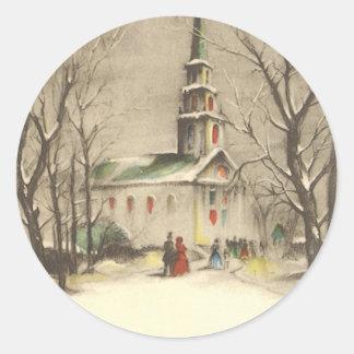 Sticker Rond Noël vintage, église en hiver Snowscape